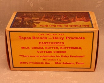 1 Lb Butter Box. Vintage Waxed Cardboard Advertising. Tepco Brand 1 Pound Never Used Food Dairy Container. Morristown, Tennessee TN. Sgbx1