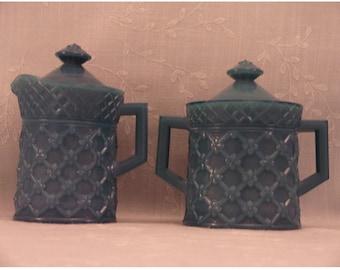 4 Pc Antique Milk Glass Scarce Westmoreland Covered Creamer & Sugar Mustard Packing Jars in Dark Opaque Blue Turquoise Custard. rhga