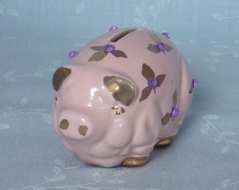 Piggy Bank. Vintage Figural Ceramic Pink Pig, Bedazzled w 11 Glass Amethyst Colored Rhinestones & Hand Painted Gold Gilded Leaves. Uc7a