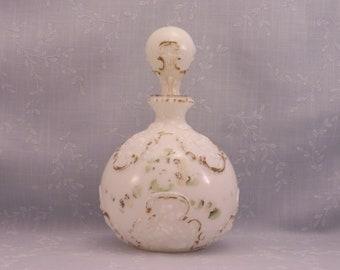 Opal Milk Glass Antique Boudoir Decanter. Gillinder Opaline Vanity, Barber, Bureau, Scent, Toiletry or Dresser Bottle w Orig Stopper. Sacd