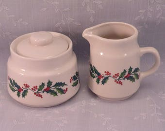 Vintage 3 Piece Christmas Hand Painted Green Holly & Red Berries Creamer and Sugar Pot or Bowl w Lid, and No Bottom Marks or Stickers. qkLb
