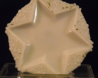 Opaline Milk Glass Plate. Victorian Star Shaped Smooth Center Novelty Antique Dish or EAPG Small Vanity Tray w Lacy Opalescent Edge. qasb