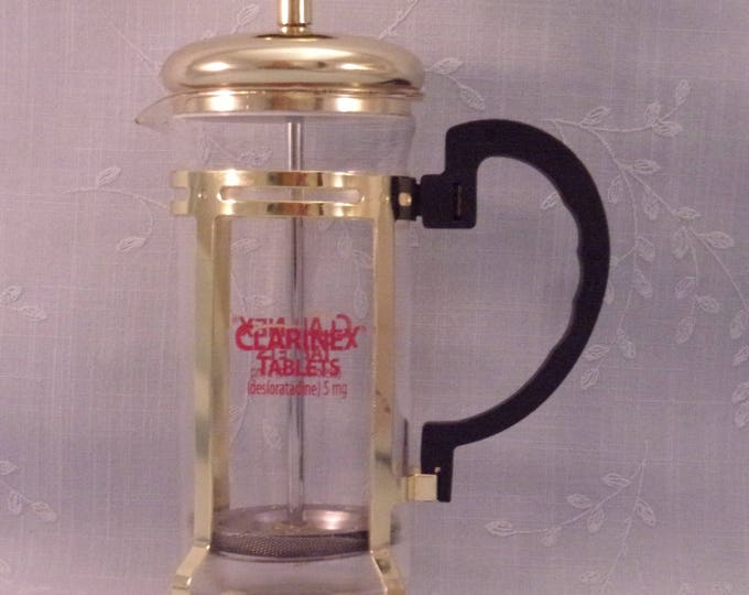 Featured listing image: Collectible Clarinex French Single Cup Glass Beacon Coffee Press by Merck Pharmaceutical Co. Medical Drug Rep or Representative Promo. RbQa