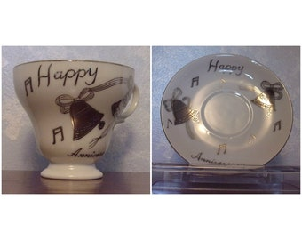 Vintage Norleans 25th Wedding Anniversary Mid Century Tea Cup & Saucer w Bells and Musical Notes to Commemorate Silver Celebration. Rfda