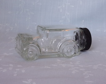 Vintage 1970s Figural Clear Glass Candy Container or Collectible Bottle. 1929 Ford Model Automobile w Original Black Plastic Cap. uiqd ea65