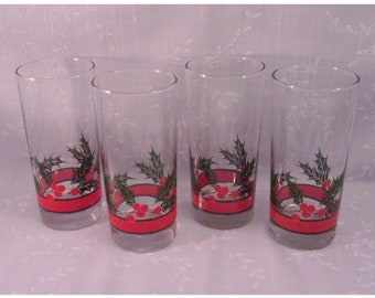 4 Libbey Crystal Vintage Original Holly & Berries Glass High Ball, Cooler, Water, or Iced Tea Tumblers in Discontinued Pattern. Set C. reoc