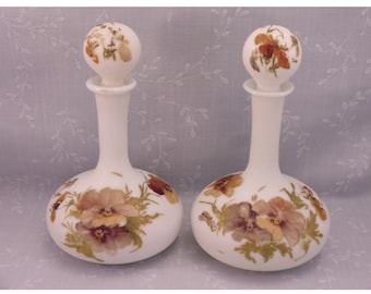 2 Antique Milk Glass Satin Vanity Decanters w Original Stoppers & Pansy Design Mt Washington Dresser Bottles Painted by the Smith Bros. Ri3b