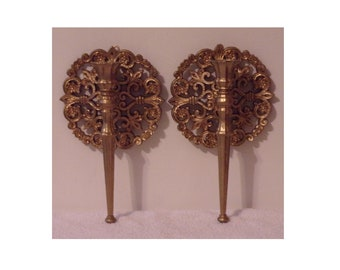 2 Vintage Homco 1973 Wall Décor Accents 4148. Candle Holders Pair in Antiqued Ornate Gold Gothic Hollywood Regency Style w Orig Paint. Rdja
