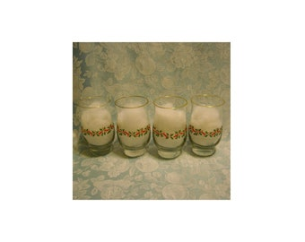 4 Vintage Short Tulip Tumblers. 1980s Libbey Holly & Berry Christmas Glass Set w Gold Rim, Ribbon and Berries, and Green Holly Leaves. rhtms