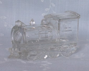 Vintage Glass Candy Container. Little Toy Train Locomotive # 23 w 2 Windows on Both Sides, Contents Embossed on 1 Side, & Damage. Udma ea478