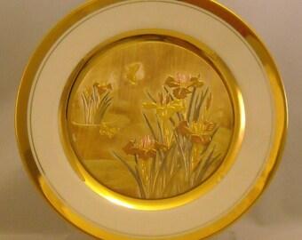 The Art of Chokin Vintage Plate. 9 + Inch Japanese Metallic Art Dish w 2 Butterflies, Iris Flowers, 24 KT Gold Gilt, & Fine Porcelain. Qdrb