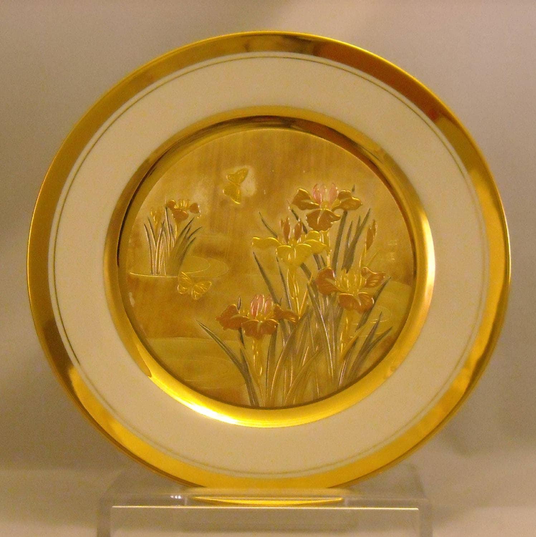 Vintage The Art of Chokin Plate. 9 Inch Japanese Metallic | Etsy