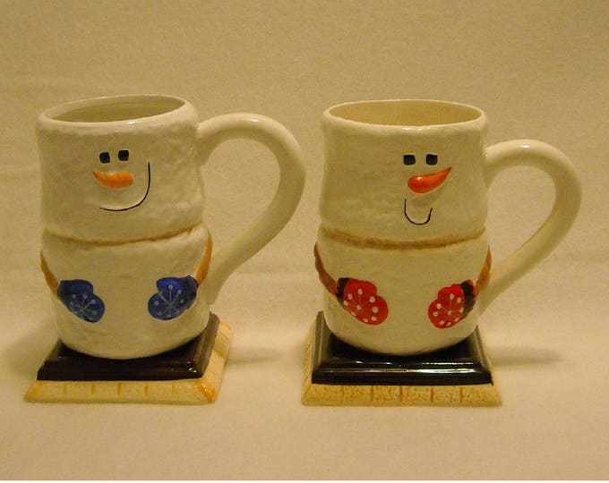 Featured listing image: 2 Collectible Bay Island Marshmallow Snowmen Christmas or Winter Tall Hot Chocolate Mugs w Square Bases, Carrot Noses, & Mittens. qgkb