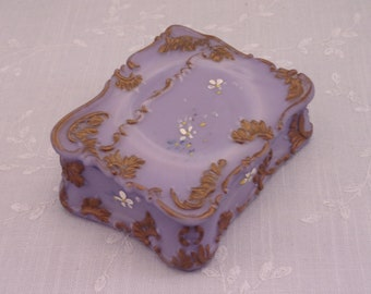 Antique Opaque Satin Rare Purple Milk Glass Dresser Vanity Jewelry Pin Box or Match Box in Scarce Novelty Shape of Old Time Lap Desk . Sjab