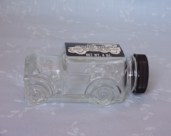 1970s Figural Clear Vintage Glass Candy Container or Bottle. 1929 Ford Model Automobile w Original Black Plastic Cap by Fresh Pak. uiqa ea65