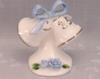 1976 Enesco 25th Wedding Anniversary VintageMini Decoration Cake Topper. Bells, Blue Painted Accents, Silver Trim, & Bone China Mark. rgea
