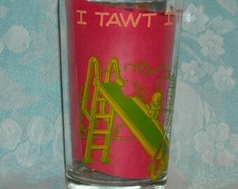 Vintage Welch's 1974 Jelly Glass. Warner Bros Looney Tunes Sylvester & Tweety Bird w Tweety on Base of Jar. I Tawt I Saw a Puddy Tat! pkcau