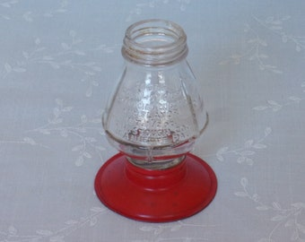 1950s Figural Clear Molded Glass Candy Container or Bottle. Vintage Number 81 Stough Toy Large Railroad Lantern w Screw on Base. Ubib ea447