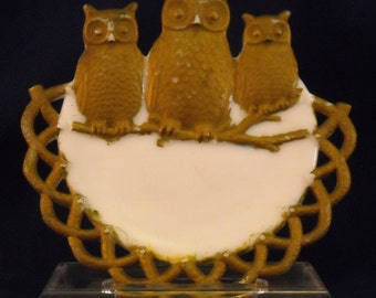 Antique Three Owls Plate. Opal Milk Glass Plate by Westmoreland.  Opaline Child's Novelty Marked Dish w Looped Border, Birds, & Gold. qamb