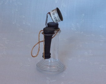 1950s Glass Candy Container. Vintage Figural Bottle Stough Musical Toy Candlestick Telephone w Metal Cap, Whistle, & Ringed Base. ufLa ea733