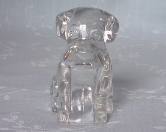 1950s Figural Clear Pressed Glass Candy Container & Bath Salts Holder. Vintage Hound Pup without Hat, Poochie, or Toy Mopey Dog. Ucsc ea183