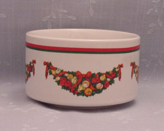 1991 Christmas Small Fruit or Dessert Bowl. Vintage CMC Korean Ceramic Bowl w Boughs of Holly, Ribbon, Fruit, & Red and Green Band. skLan