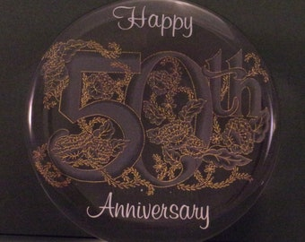 50th Anniversary Vintage Paperweight to Commemorate Golden Wedding Celebration. Decorative Clear Glass, Embossed w Gold Floral Design. Rffa