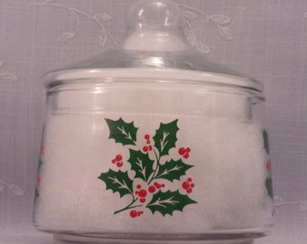 Indiana Glass Christmas Vintage Snack or Candy Apothecary Jar w Lid and Green Holly & Red Berries. Made in USA in Discontinued Pattern. rida