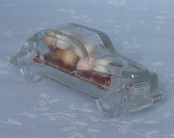 1940s Figural Car Glass Candy Container. Vintage Victory Toy Miniature Streamlined Automobile w Original Candy & Original Closure. Uc8b ea33