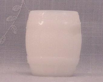 Milk Glass Vintage Barrel Toothpick Holder or Novelty Shot Glass w Fiery Edges, Degenhart Bottom Mark, & Faux Stippled Wood. 2 Inches. rhia