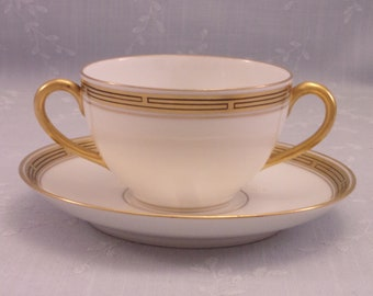 Antique Pickard China. Porcelain Cream Soup Cup and Saucer Set in Gold Decorative Geometric Pattern w 2 Handles on the Bowl. Set D. sjLao