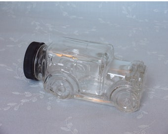 Vintage Figural 1970s Clear Glass Candy Container or Collectible Bottle. 1929 Ford Model Automobile w Original Black Plastic Cap. uiqb ea65
