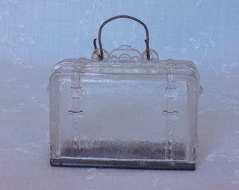 Antique Figural Toy Suitcase. West Bros Old Clear Glass Candy Container. Includes Original Wire Bail Handle & Original Tin Slide. Uama ea707