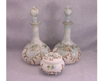 Antique Milk Glass Mt Washington Vanity 6 Pc Set. 2 Swirled Base & Leaf Opal Decanters w Stoppers and 1 Toiletry Powder Puff Box w Lid. rL3a
