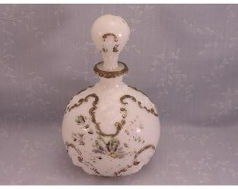 Opal Milk Glass Antique Toiletry Decanter. Gillinder Opaline Dresser, Cologne, Perfume, Boudoir, or Vanity Bottle w Original Stopper. sacb
