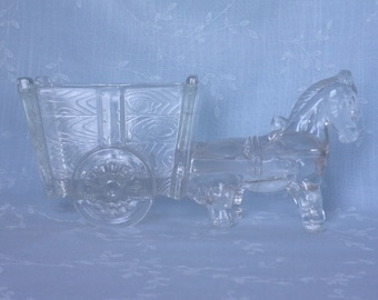 1930s Figural Clear Glass Candy Dish. Vintage Large Kemple Horse, Pony, Donkey, or Mule Pulling Two Wheeled Cart. Almost 9 Inches Long. udca