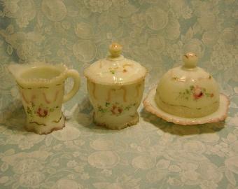 Antique 5 Pc Milk Glass Set. Opaline Sugar w Lid, Butter Dish w Lid, & Creamer. EAPG Opal Dithridge Ft Pitt Astoria Versailles Pattern. pecb