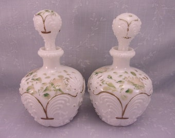 Antique Gillinder Milk Glass Decanters w Original Stoppers. 2 Old Victorian EAPG Opaline Dresser, Perfume, Barber, or Cologne Bottle. Ri9b