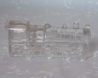 1940s Figural Pressed Clear Glass Candy Container. Vintage Victory Toy Train Single Window Locomotive. Marked 888 on Both Sides. Ubra ea481