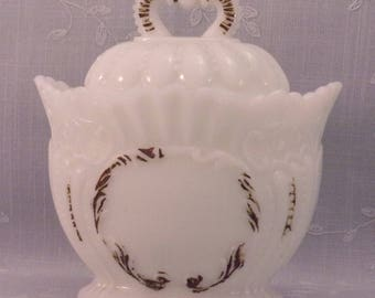 Westmoreland Antique Milk Glass Crown Covered Sugar w Scalloped Edges & Domed Lid. Victorian EAPG Opaline Glass. Bowl has Damage. Ra3a