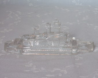 1940s Figural Pressed Clear Glass Candy Container. Vintage Victory Miniature Toy Battleship w Stern Divider Slightly Rounded. Ubrb ea97