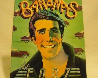 Vintage The Fonz 1976 Bananas Teen TV Magazine w Henry Winkler Head Shot, Zooey Cartoon, & Donkey Basketball Game. Printed in USA. nLcau