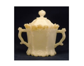 Opaline Milk Glass Antique Covered Sugar Bowl w Lid by Westmoreland in Paneled Forget Me Not Victorian EAPG Pattern & Crown Top Finial. qaQb
