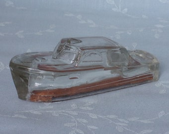 1940s Figural Glass Candy Container. Vintage J H Millstein Toy Boat Model Cruiser w Cardboard Insert & Raised Anchor on Deck. Uc7d ea98
