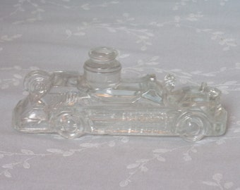1940s Figural Clear Glass Candy Container. Vintage Toy Miniature Fire Engine w Solid Boiler & 4 Narrow Chemical Bottles. Ubnd ea213