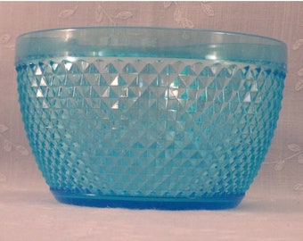 Vintage 1980s Bowl. Hard Plastic Acrylic Small Light Blue Serving or Fruit Bowl by Two's Company in Faux Glass English Hobknob Pattern. Rcva