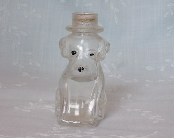 1950s Clear Glass Candy Container. Vintage Stough Figural Toy Dog. Hound Pup w Sm Stippled Glass Hat & Ears and Number 4 on Base. Ufhb ea181