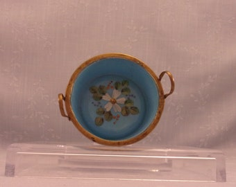 Blue Milk Glass. Turquoise Antique Trinket Basket, Bowl, or Dish w Brass Edge, Welded Handles, & Enameled Floral Painting in Center. Sjnao