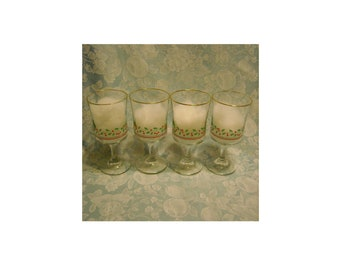 4 Optic Swirl Vintage Goblets. Arby's 1986 Christmas Collection Promo Glass Stemware by Libbey w Logo, Gold Rim, Holly, & Berries. Rhgbf