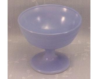 Vintage Dessert Dish. Mid Century Hazel Atlas Moderntone Platonite Ribbed Sherbet or Ice Cream Milk Glass Bowl w Baked on Blue Color. Rgwb